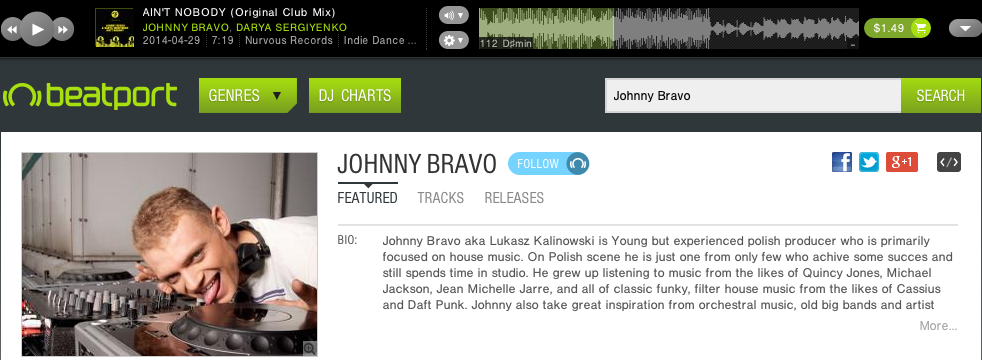 dj johnny bravo discography beatport